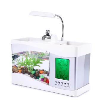 ตู้ปลามินิแบบตั้งโต๊ะอเนกประสงค์ขนาด 1.5 ลิตร พร้อมโคมไฟและนาฬิกาดิจิตอล