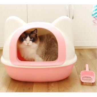 ห้องน้ำแมว XXL+ แบบโดมรูปทรงหัวแมว (สีชมพู)