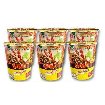 Mama Cup มาม่าคัพ สูตรเจ รสต้มยำ บะหมี่กึ่งสำเร็จรูป ขนาด 60กรัม/ถ้วย แพ็คละ6ถ้วย