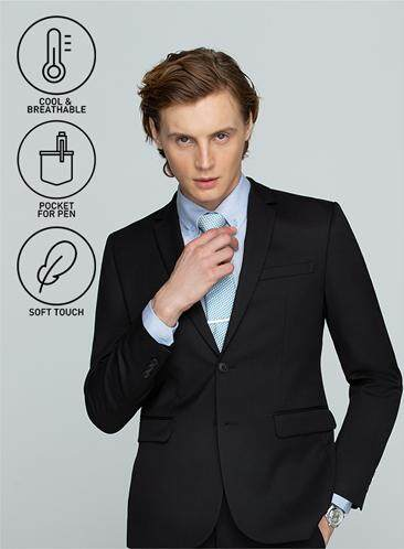 นราธิวาส GQSize เสื้อสูท - GQ  Suit  Long Sleeve Single Breasted Wool Blend Fabric Solid  140-111316  Black