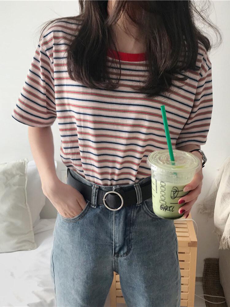 LH.Sunday เสื้อยืดลายทางมาใหม่ สไตล์วินเทจ ผ้านิ่มใส่สบายโทนสีสุภาพ มีมา3สีจุกๆกันไปเลย