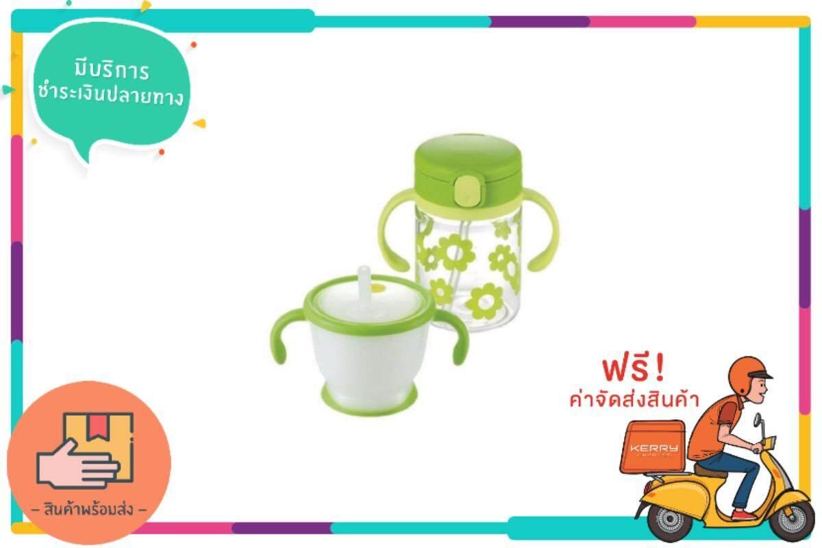 ขายดีมาก! Richell ชุดแก้วฝึกดูดและถ้วยหลอด (สีเขียว) ส่งฟรี kerry