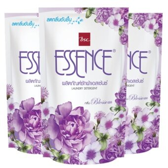 Essence น้ำยาซักผ้า เอสเซ้นซ์ กลิ่น Blossom ( สีม่วง ) ชนิดเติม 400 มล. แพ็ค 3 ถุง