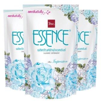 Essence น้ำยาซักผ้า เอสเซ้นซ์ กลิ่น Impression ( สีฟ้า ) ชนิดเติม 400 มล. 3 ถุง