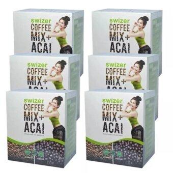 SWIZER COFFEE MIX ACAI BERRYกาแฟเพื่อสุขภาพ สไวเซอร์ คอฟฟี่ มิกซ์พลัส อาซาอิ เบอร์รี่ จากป่าอเมซอนในบราซิล บรรจุ 10 ซอง (6 กล่อง)