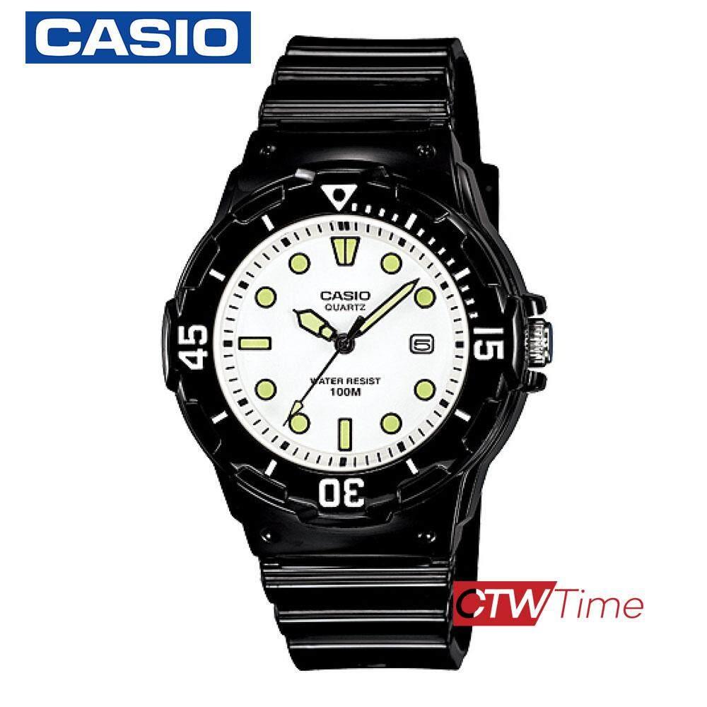 Casio Standard นาฬิกาข้อมือผู้หญิง สายเรซิ่น รุ่น LRW-200H-7E1VDF (เรือนดำ/หน้าขาว)