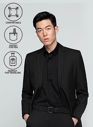 ลองใช้ยัง GQWhite นครนายก GQSize เสื้อสูท - GQ  Suit  Long Sleeve Single Breasted TR Fabric Solid  140-111302  Black