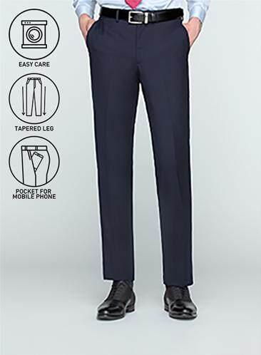 GQWhite ดีไหม ชลบุรี GQSize กางเกงขายาว - GQ  Slacks  Long Pants Wool Blend Fabric Solid  130-611427  Navy