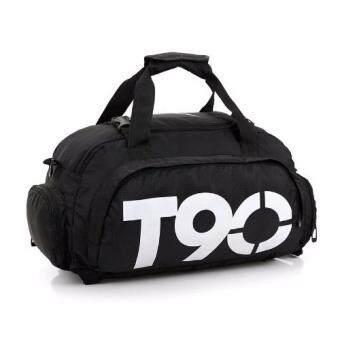 19April กระเป๋าT90 Backpack 3 in 1 สะพายหลัง สะพายข้างได้มีที่เก็บรองเท้า กันน้ำได้ ( สีดำ)