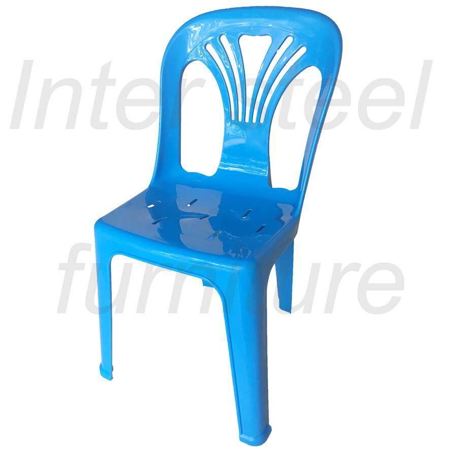 เช่าเก้าอี้ โคราช Inter Steel เก้าอี้พลาสติก เกรดA มีพนักพิง รุ่นหลังW (สีฟ้าสด) Grade A plastic chair