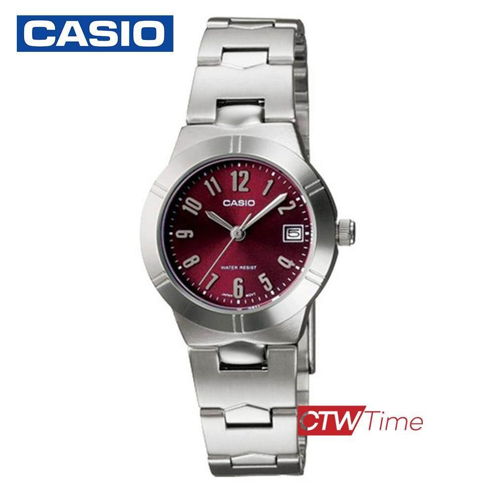 Casio Standard นาฬิกาข้อมือผู้หญิง สายสแตนเลส รุ่น LTP-1241D-4A2DF (เรือนเหล็ก/หน้าแดง)