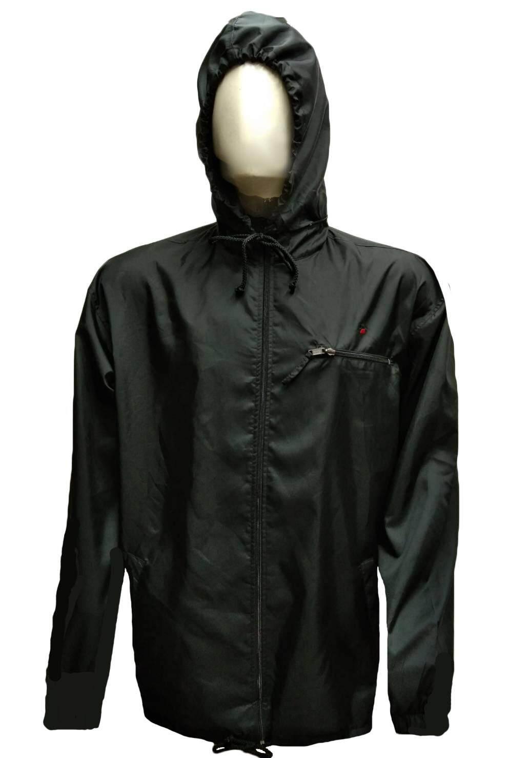 hooded nylon jacket เสื้อแจ็กเก็ตมอเตอร์ไซค์กันลม มีฮู๊ด พับเป็นกระเป๋าเล็กได้ในตัว มีกระเป๋าซิปเก็บหมวกหลังคอ มีกระเป๋าซิปใส่ของตรงอก