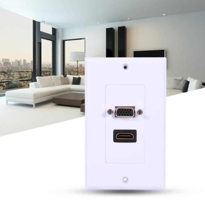 1 Port HDMI Female + 1 Port VGA Female AV Wall Outlet Video Socket Face Connector Plate White - intl
