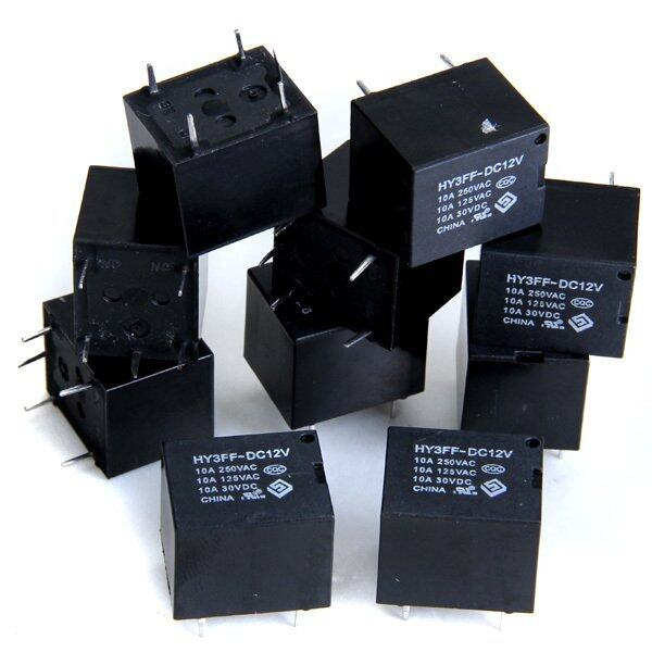 10 x มินิ PCB ประเภทพลังงานไฟฟ้ารีเลย์ 12 V Dc