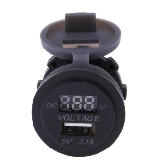 12V USB Car Phone Charger Car Voltmeter Two In One (Black)