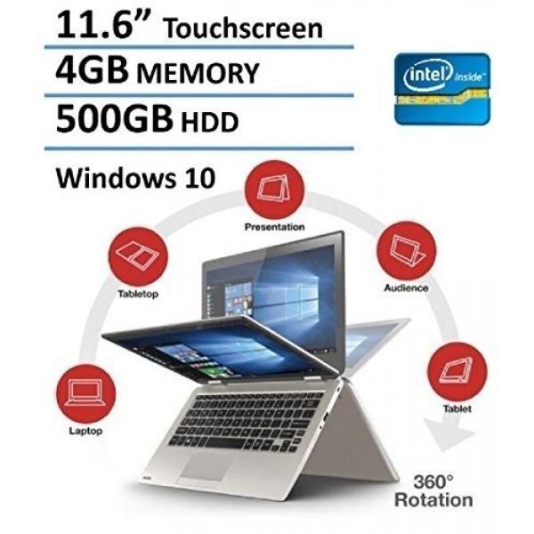 2016 Toshiba Satellite Radius Premium 11.6' 2-in-1 Touchscreen Convertible Laptop (Intel Quad-Core Pentium N3700, 4GB RAM, 500GB HDD, Bluetooth, Webcam, WiFi, HDMI, Windows 10) - Satin Gold - intl