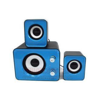ลำโพง ยูเอสบี 2.1 แชลเนล เบสหนัก USB Specker 2.1 channel Super Bass(สีฟ้า) พร้อม ไฟ LED แบบ Usb คล่ะสี 1 ชิ้น - 4