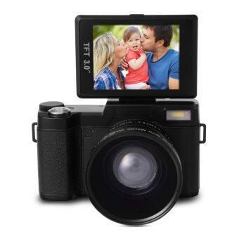กล้องดิจิตอล 24MP Flip Screen Digital Camera FHD 1080P Video 3.0 TFT LCD พร้อม UV Filter + Wide Angle Lens