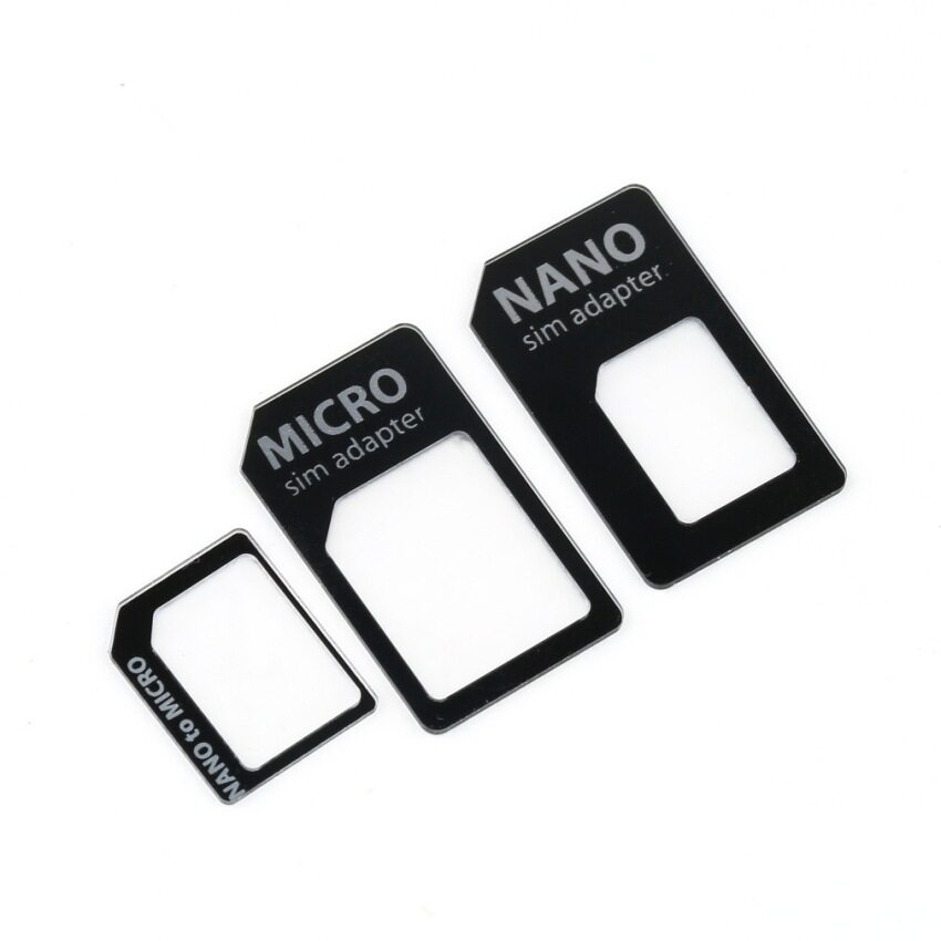 3 in 1 Nano SIM to Micro Standard SIM Adaptor for iPhone 5 (Black)