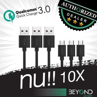 [สายหนา 4 mm] สายชาร์จ Aukey Quick Charge 3.0+2.0 Compatible Micro2.0 USB Cable สายชาร์จ/สายซิงค์ รองรับการชาร์จไวจากระบบ Fast ChargeQualcomn QC3.0+2.0 ยาว 1.2 เมตร สีดำ (Pack 3 เส้น)