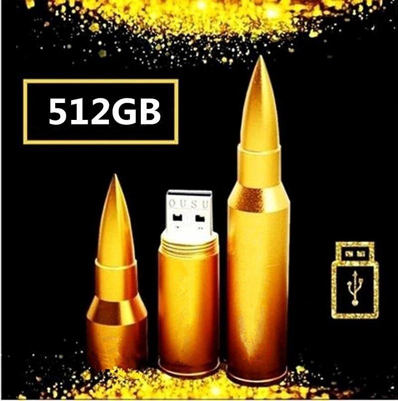 นำเสนอ 512GB New Fashion Bullet USB Flash Memory U Disk Flash Drive 2 Colors-Gold - intl
