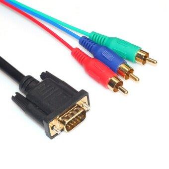 โปรโมชั่นพิเศษ 5ft/1.5m Pure Copper VGA to 3RCA PC Connection TV HDTV Adapter Cable Connector - intl