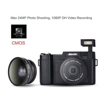 Amkov AMK-R2 24MP 1080P 3.0 LCD Rotatable Screen Digital SLR DV Recorder Camera Black - intl