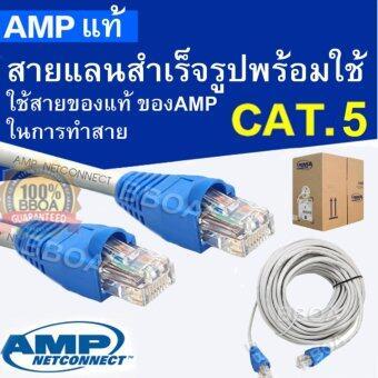 อยากขาย AMP Cable Lan สายแลน CAT5e 40M เข้าหัวพร้อมใช้งาน สายยาว40เมตร(ขาว)
