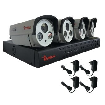 Astun CCTV ชุดกล้องวงจรปิดติดตั้งง่าย ชุด4ตัว DVR 4 CH + กล้อง รุ่น ASP-8850 850TVL (สีขาว)