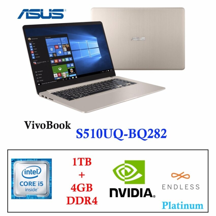 Asus VivoBook S510UQ BQ282[Gold] i5-7200+RAM4GB+1TB+15.6FHD+GT940MX+Endless