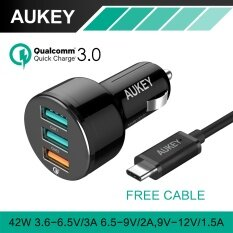 AUKEY For Qualcomm Quick Charger 3.0 with USB Cable 3 Ports Mini USB Car Charger for