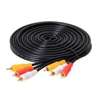 สายAV Video Stereo Audio RCA Cable สาย 3หัวออก 3หัว สำหรับ DVD TV ยาว 10เมตร (สืดำ)