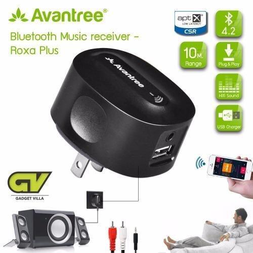 Avantree ตัวรับสัญญาณเสียงด้วยบลูทูธ 4.2 แบบเสียบปลัํก รับสัญญาณจากสมาร์ทโฟนได้ มีช่อง USB1A ใช้งานกับลำโพงธรรมดาด้วยสาย AUX(3.5mm) / CHARGE FREE aptX LOW LATENCY Bluetooth Receiver for Home Stereo, CD-Quality Music Streaming รุ่น Roxa Plus (ดำ)