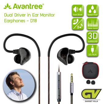 Avantreeรุ่น D18 หูฟังเสียงแน่นมีไมค์ในตัว แบบ DUAL Driver ที่เปลี่ยนการดูหนังฟังเพลงบนมือถือ ให้เหมือนอยู่ในโรงหนัง (สีดำ) / DUAL DRIVER 3D Surround In Ear Monitor Earphones
