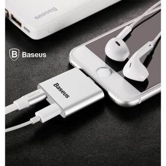 BASEUS L39 2 ใน 1 สายแปลงสัญญาณเสียงและเครื่องชาร์จสำหรับ Lightning iPhone 7 6 วินาที iPad เรียกเข้าสายชาร์จ/สายชาร์จอะแดปเตอร์ใหม่ Arrivalr (Silver)