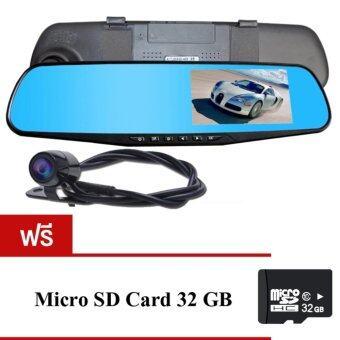 Black Box DVR กล้องติดรถยนต์แบบกระจกมองหลังพร้อมกล้องติดท้ายรถFHD1080P (สีดำ)ฟรีMicro SD CARD 32G
