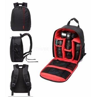 Camera Backpack Bag Waterproof กระเป๋าเป้สะพายหลังสำหรับใส่กล้อง กันน้ำ DSLR Case for Canon/Nikon/Sony (Red)