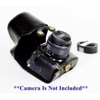 เคสกล้อง Canon EOS M5 PU Leather Case for EOS-M5 with 15-45mm Lens เคสสีดำ มีสายคล้อง