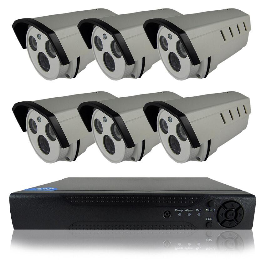 CCTV ชุดกล้องวงจรปิดกล้อง 8CH 1200 TVL 6ตัว ทรงกระบอก 1.0 ล้านพิกเซล HD เครื่องบันทึก 8 ช่อง