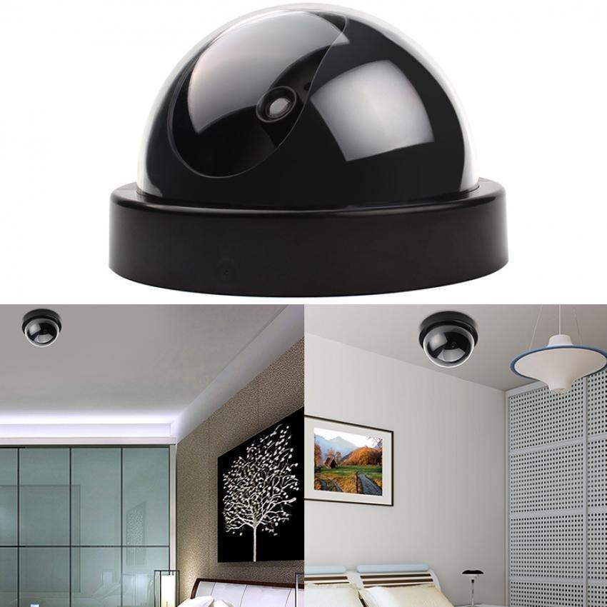 CCTV Dummy Fake Cameras LED Surveillance Dome Home Security RedFlashing Light (Black)