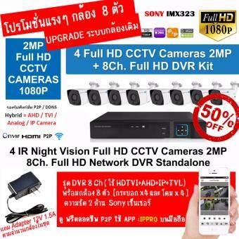 กล้องวงจรปิดแบบมีสาย CCTV + DVR 8 ch (บันทึกลง HDD แบบ Full 1080p): กล้องวงจรปิด 8 ตัว ทรงกระบอก 8 แบบเหล็ก กันแดด กันฝนอินฟาเรดแบบ ARRAY Led 6 ดวง พร้อม DVR แบบ Hybird 8 Ch.
