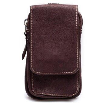 Chinatown Leather กระเป๋าหนังแท้ใส่มือถือร้อยเข็มขัด หนังชาร์มัวร์ (สีน้ำตาลเข้ม)