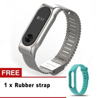 Colorful Silicone Replacement Wrist Strap Stainless Steel MetalStraps for Xiaomi Mi band 2 - intl