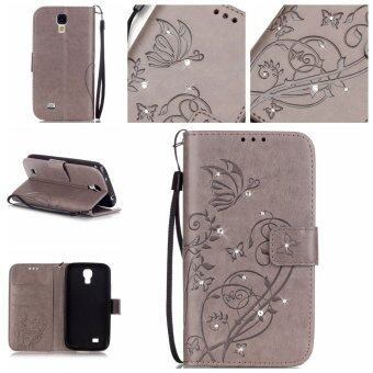Diamonds Butterfly PU Leather Case Flip Stand Cover for SamsungGalaxy S4 Mini i9190 (Grey)