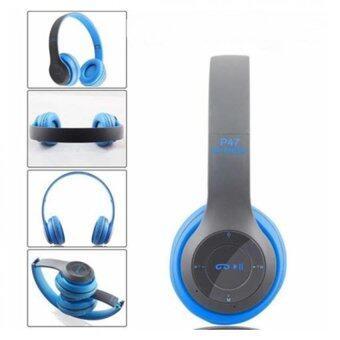 DT หูฟังบลูทูธแบบครอบหู รุ่น P47 Wireless (สีฟ้าเทา)