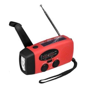 Emergency Solar Hand Crank Dynamo AM/FM/WB Weather Radio LED Flashlight Charger (Red) - intl