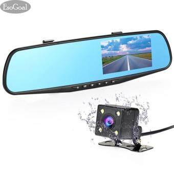 EsoGoal DVR กล้องติดรถยนต์แบบกระจกมองหลังพร้อมกล้องติดท้ายรถ FHD1080P (ไม่รวมบัตร TF)