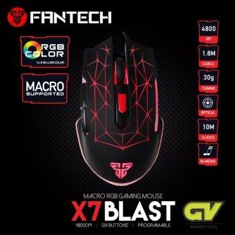FANTECH Optical Macro Key RGB Gaming Mouse เมาส์เกมมิ่ง ออฟติคอล ตั้งมาโครคีย์ได้ ความแม่นยำสูงปรับ DPI 200 - 4800 เหมาะกับเกม MMORPG(BNS) FPS MoBA รุ่น X7 Blast (สีดำ)