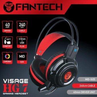 FANTECHStereo Headset for Gaming หูฟังเกมมิ่ง แบบครอบหัว มีไมโครโฟน ระบบสเตริโอ รอบทิศทาง มีไฟโครม่า ปรับเสียงได้ สำหรับเกมแนว FPS TPS รุ่น HG7 (สีดำ/แดง)