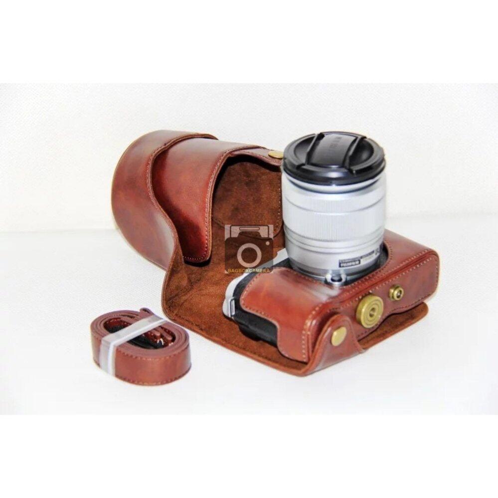 กระเป๋ากล้องกระเป๋าเคสครอบสำหรับ fuji xa3 xa2 xa1 xm1 สีน้ำตาลเข้ม Full case